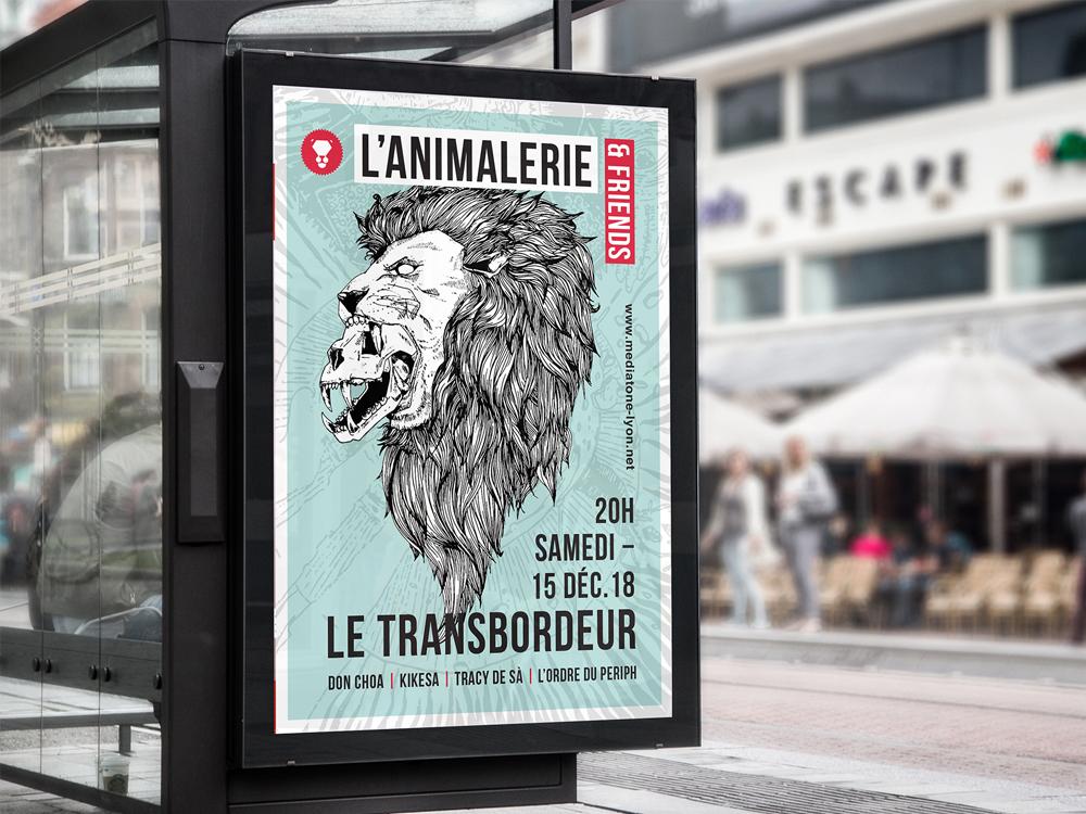 Affiche A1. Tête de Lion et crâne de lion. L'animalerie. Le transbordeur. Bichromie, bleu et rouge. Illustration au trait.