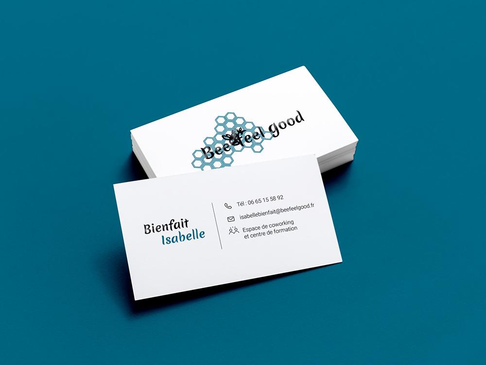 Carte de visite avec finition vernis sélectif. Format standard, finition spéciales. Beefeelgood logo. Abeille, coworking.
