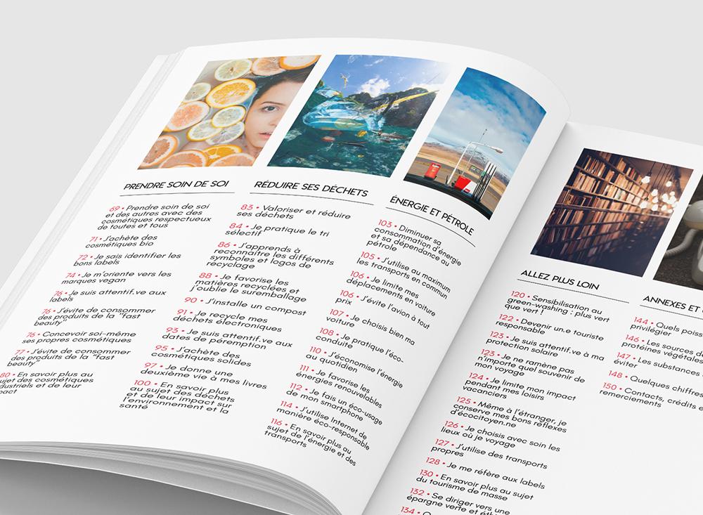 Page Sommaire du Guide de 156 pages. Mockup avec le livre ouvert sur le sommaire. très graphique avec des photo et du texte. Il y a 6 photographies sur l'image avec les numéro de pages.