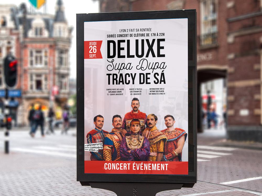 Affiche A1. Groupe DELUXE. Affiche de concert colorée. SUPA DUPA. TRACY DE SÀ. DELUXE. Groupe de musique.