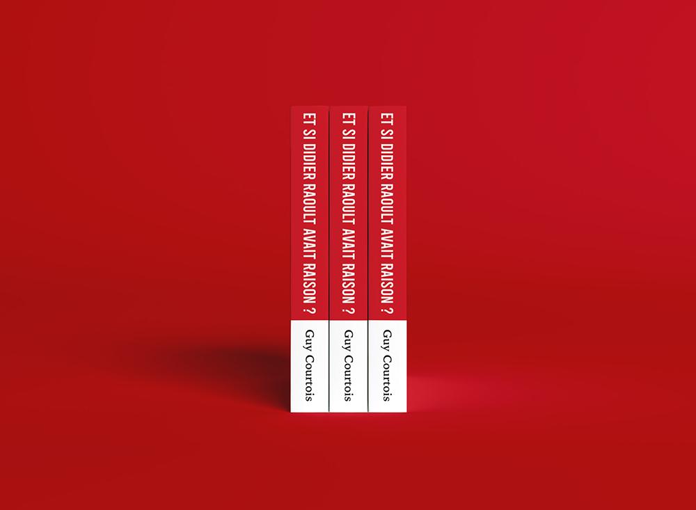 Tranche de la couverture de Didier Raoult. Rouge et blanc. Ecrit par Guy Courtois.