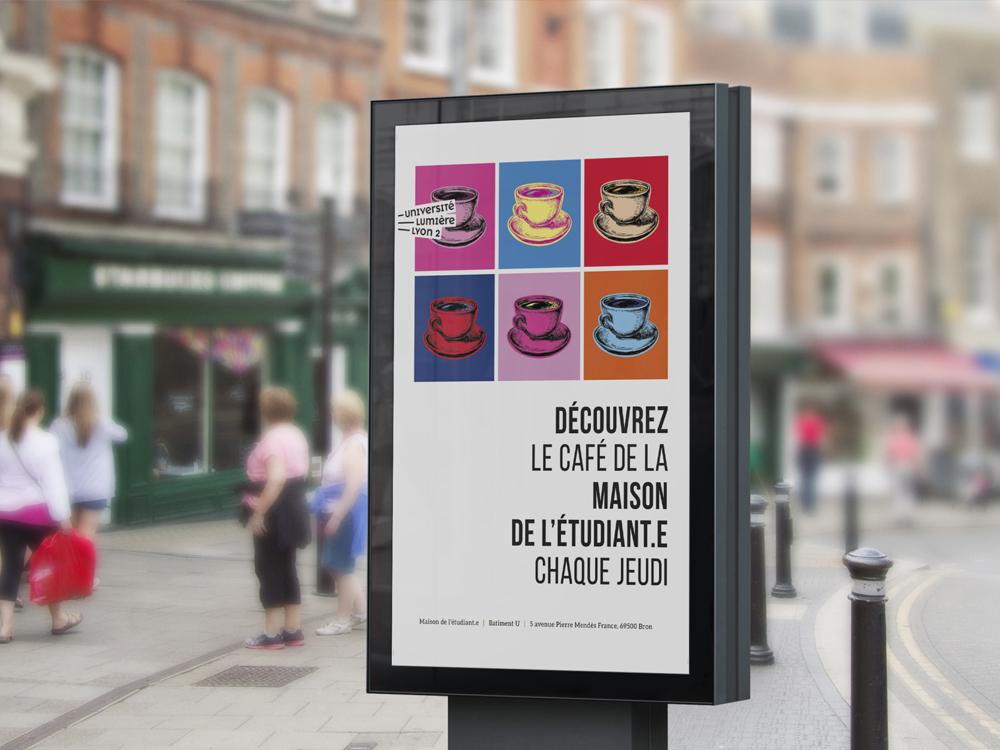 Maison de l'étudiant. Affiche avec des café. Style rétro coloré. Illustration et typographie. Mise en page. InDesign. Université Lyon 2