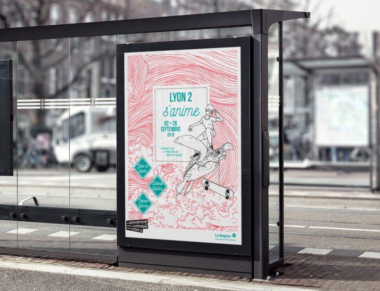 Affiche. Illustration à la main. Dessin d'une tortue et d'une vague. Affiche d'arrêt de bus.
