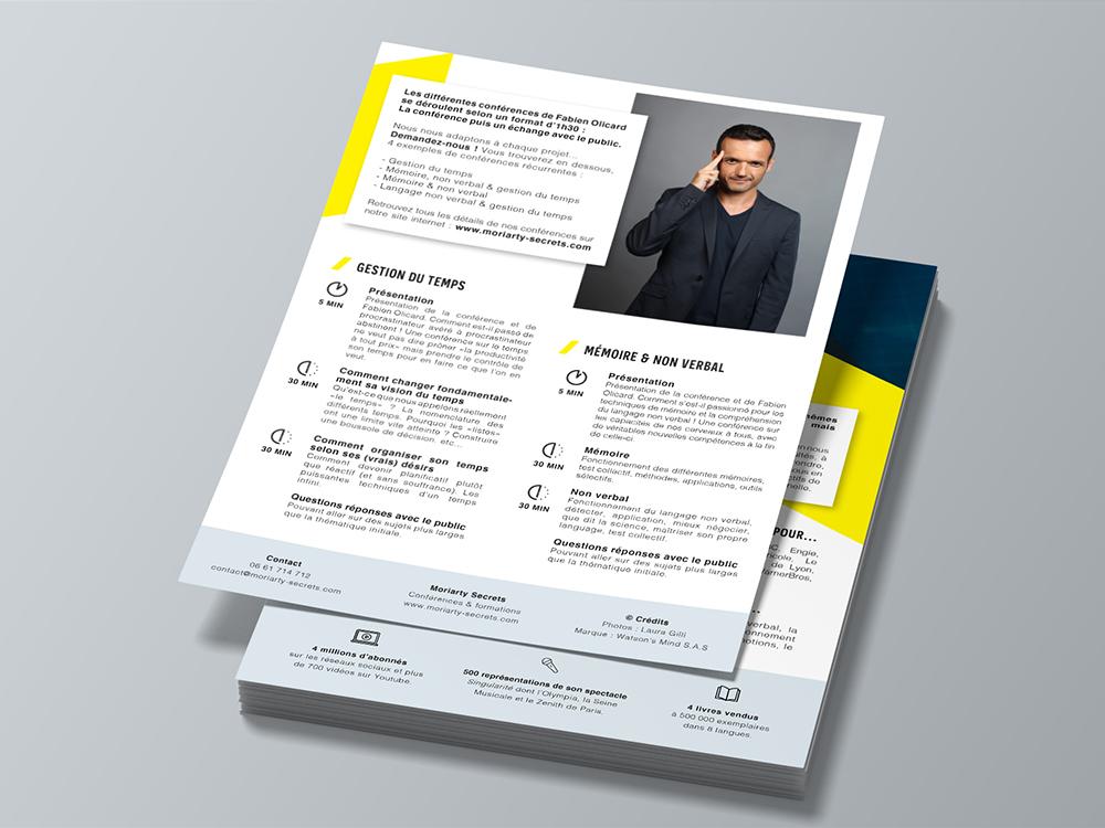 Flyer verso format A5. Présentation de la conférence de Fabian Olicard. Bichromie : jaune et bleu. Mise en page sur InDesign.