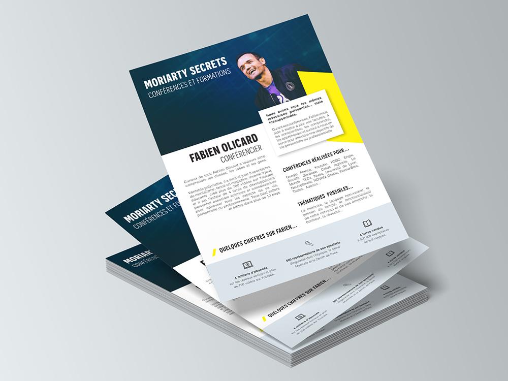 Flyer recto format A5. Présentation de la conférence de Fabian Olicard. Bichromie : jaune et bleu. Mise en page sur InDesign.