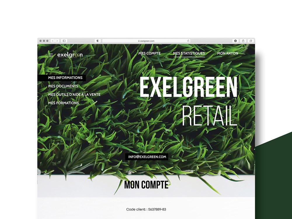 Haut de page du site Exelgreen. Vu en gros plan d'herbe avec le logo.
