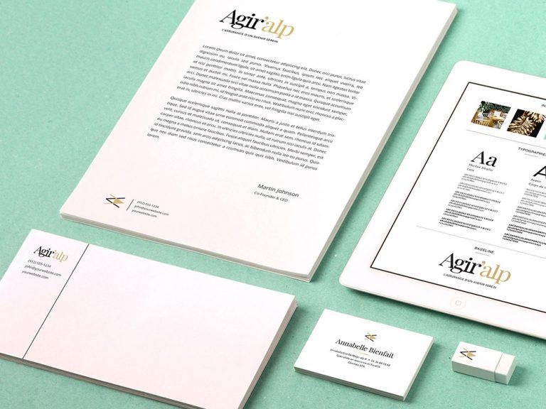 Identité visuelle. Charte graphique. Logo, noir & or. Mise en page. Design graphique. Mockup.
