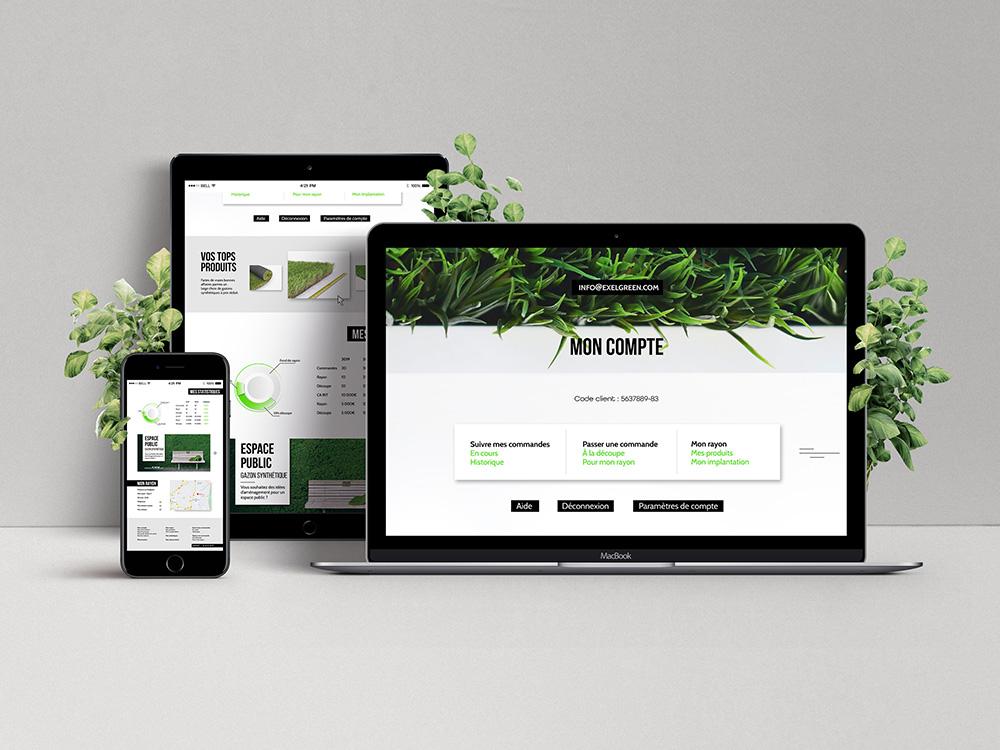 """Site Retail d'exelgreen mis dans un ordi, tablette et téléphone. Site très épuré et """"nature"""""""