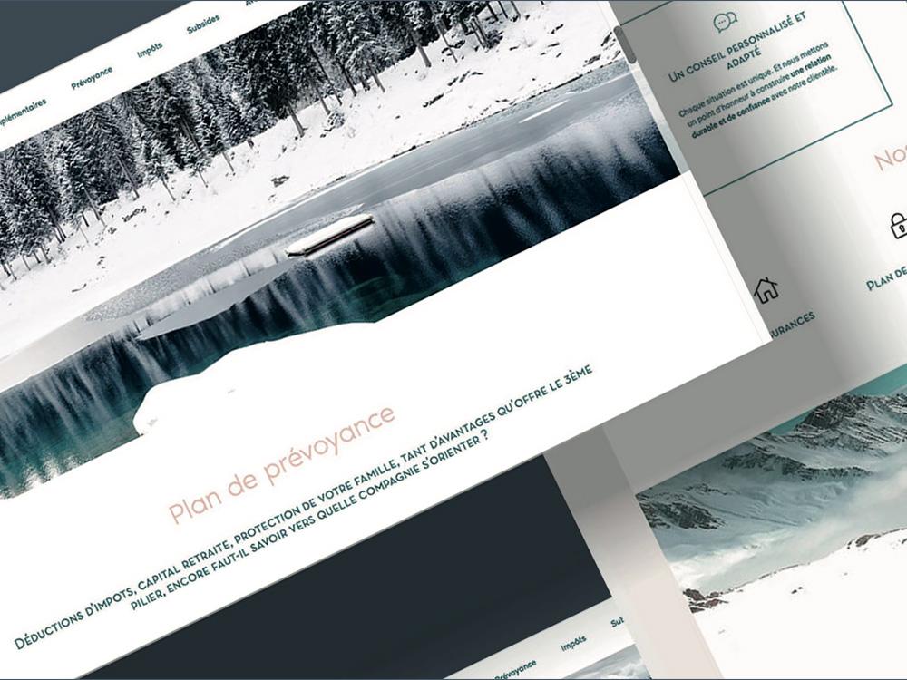 Site internet pour une agence d'assurance suisse. La neige et le lac fusionne pour offrir une grande sérénités lorsque l'on découvre le site internet.