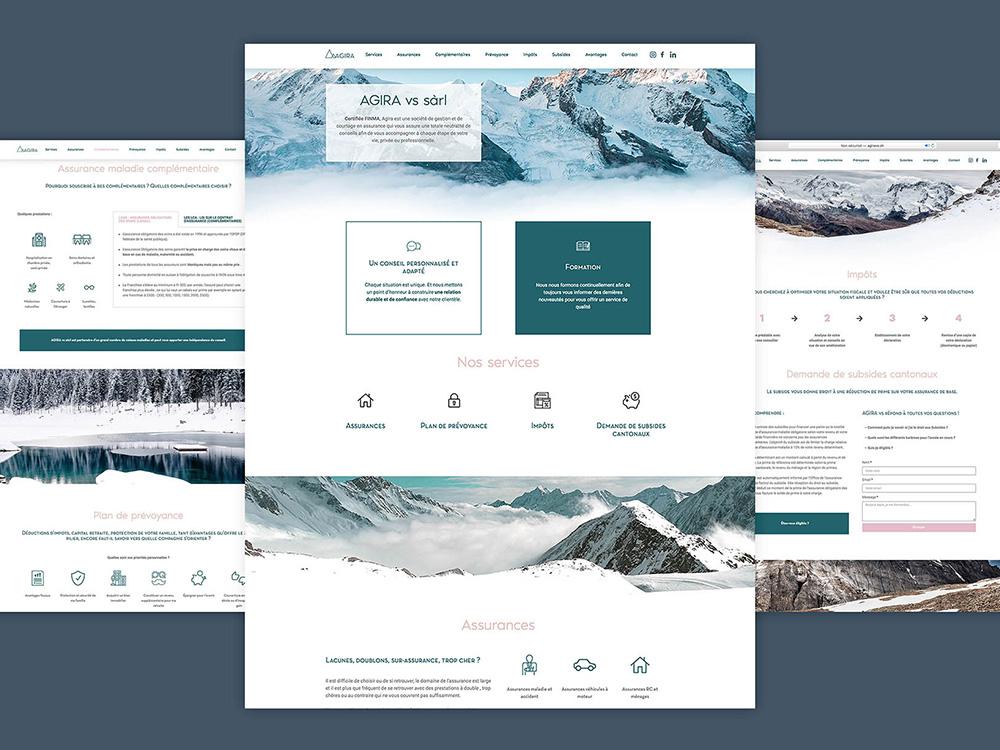 Le site Agira vs reprend le thème de la montagne dans des tons pastels et blanc.