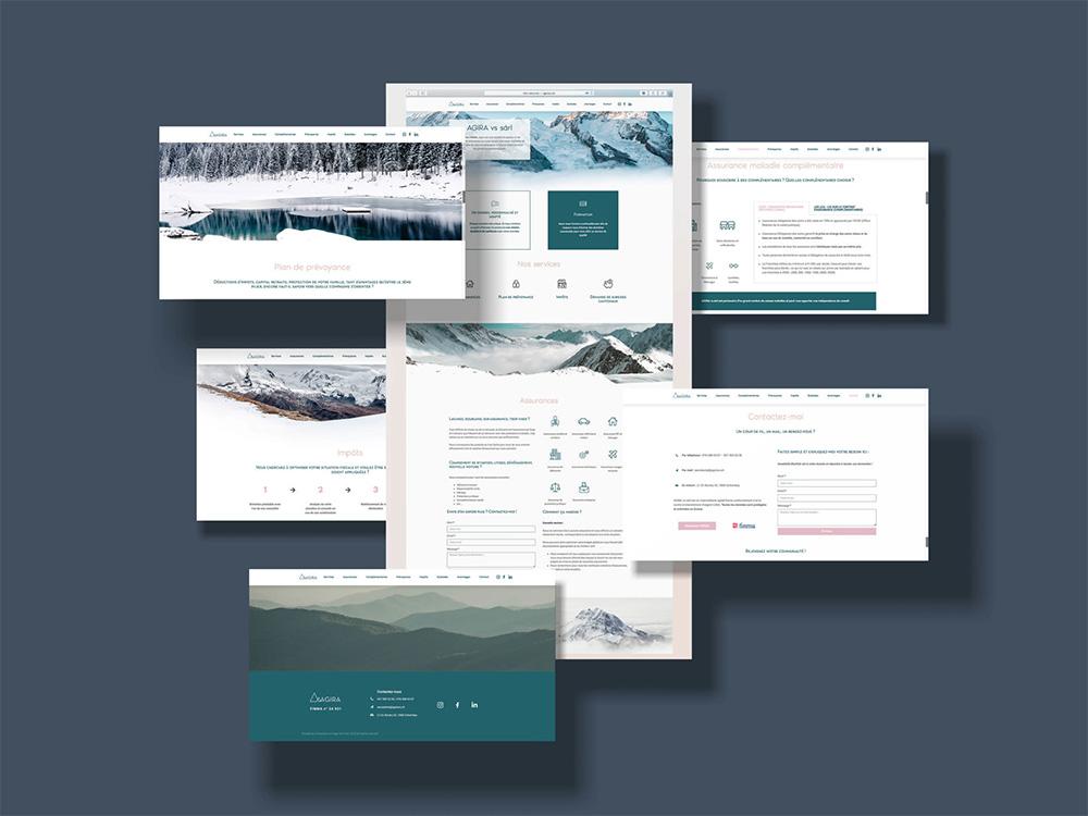 Presentation de 6 pages internet dans un mockup. Site très épuré, dans les tons bleu et beige. Très design et esthétique.