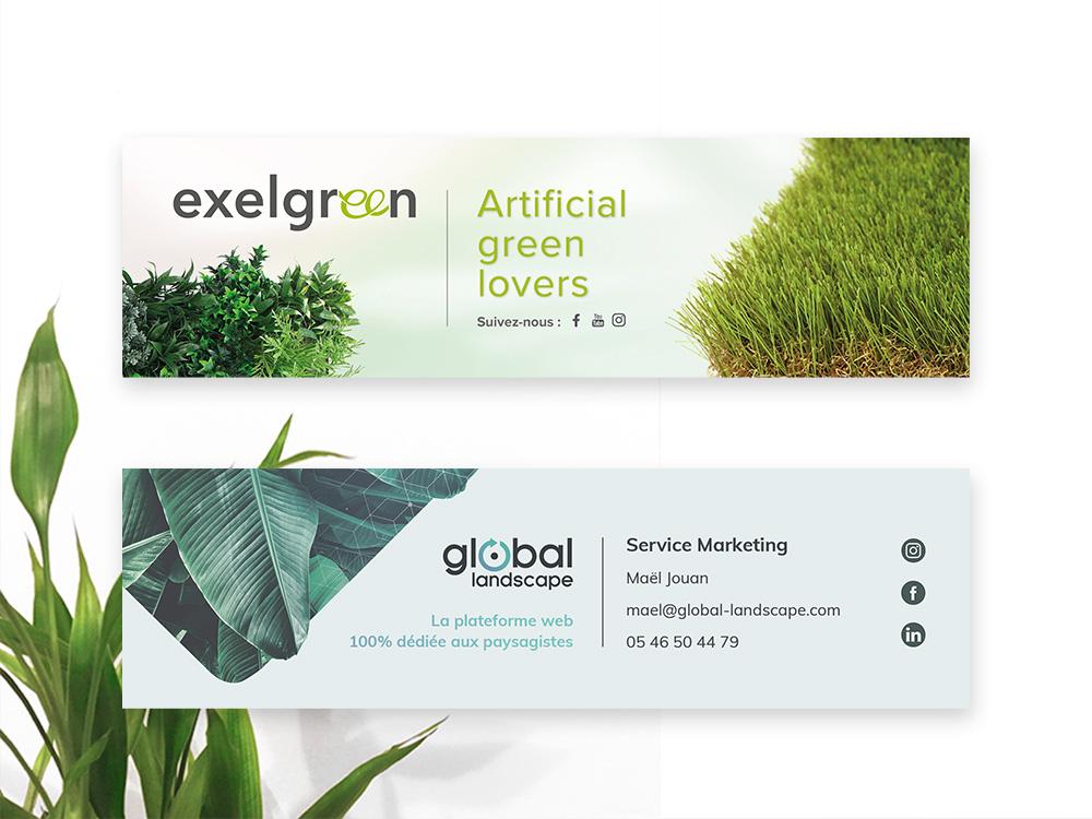 2 signatures de mail, avec du gazon, des plantes et un mur végétal. Dans les tons gris clair et vert.