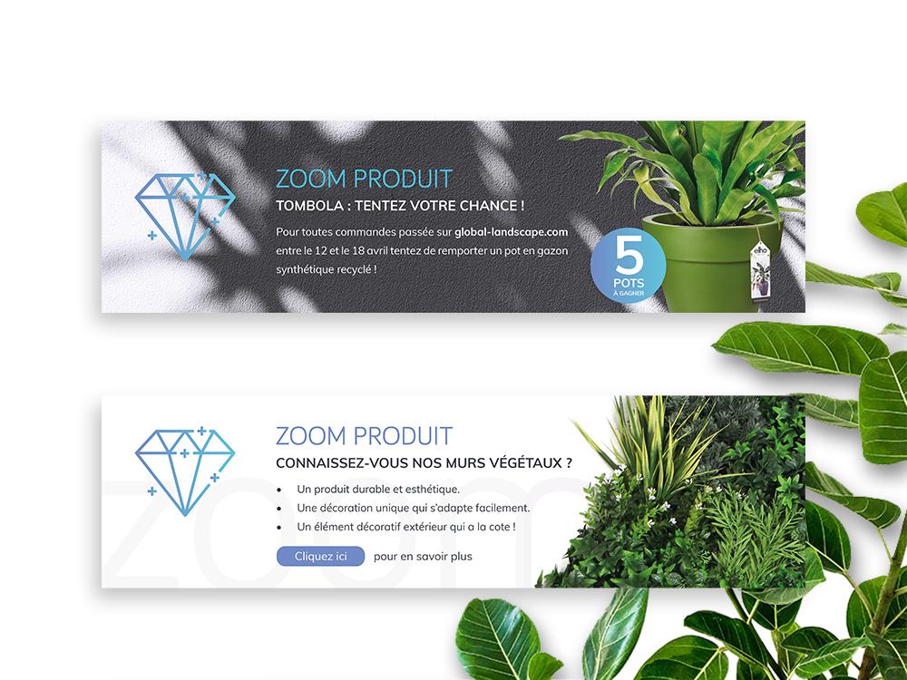 Deux bannières web représentant des produits Global landscape. Sur la premiere on peut y voir 1 pot ELHO et sur la seconde des murs végétaux.