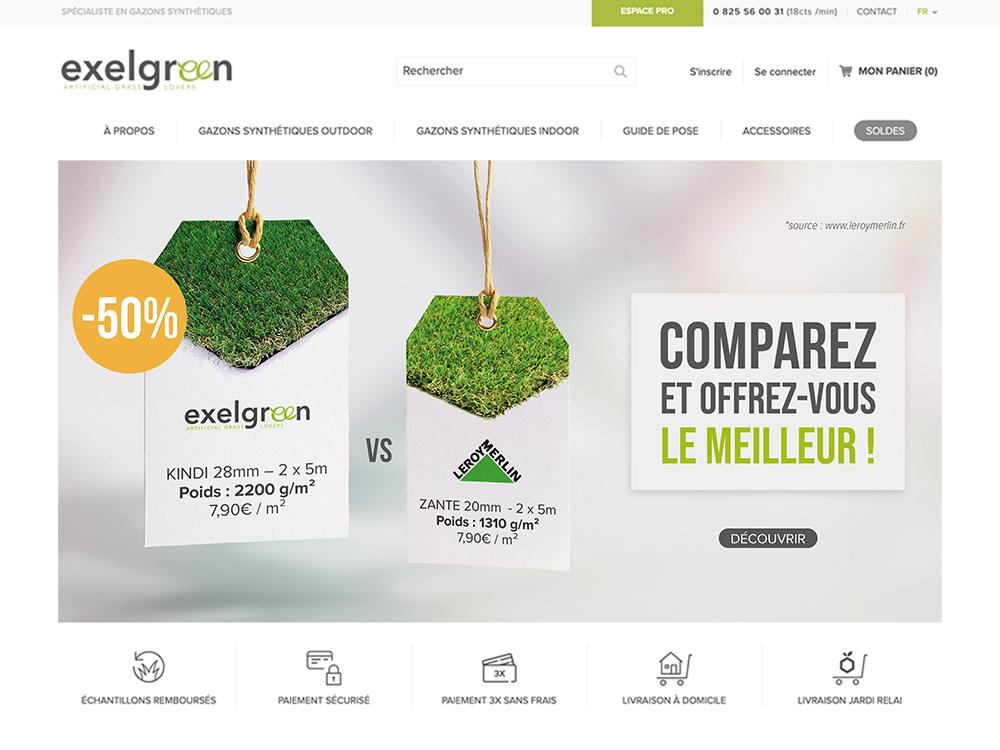 Bannière web représentant deux étiquette. L'une d'exelgreen, et une autre de LeroyMerlin. Même pris pour un poids différent !