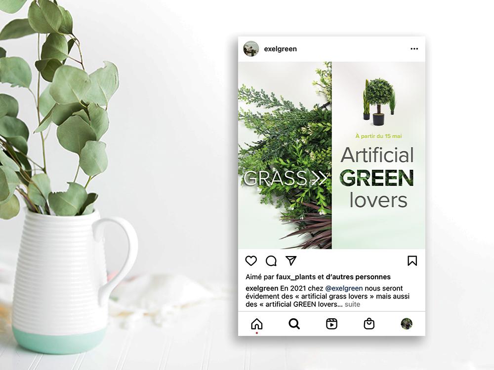 Post instagram représentant un mur végétal. 3 plantes artificielles sont sur le côté.